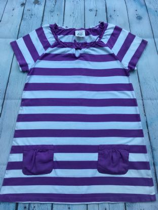 Mini Boden purple and white striped tunic dress with pockets age 9-10